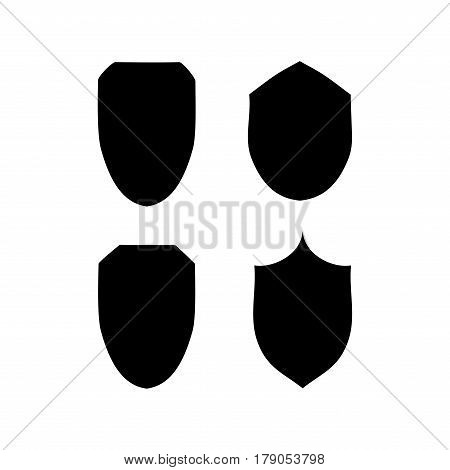 Shield shape icon set. Graphic antique heraldic badge. Black silhouette sign isolated on white background. Symbol of protection arms honor security. Design element. Vector illustration