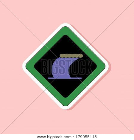 paper sticker on stylish background of tsunami sign