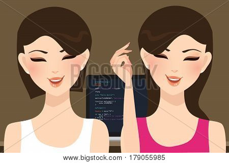 pair programming beautiful woman girl coding in front of screen vector