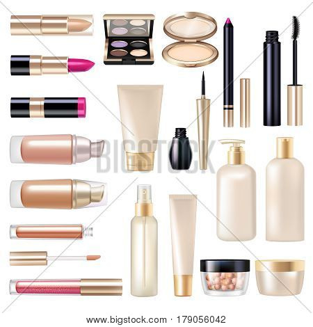 Makeup realistic items super set with mascara and powder isolated vector illustration