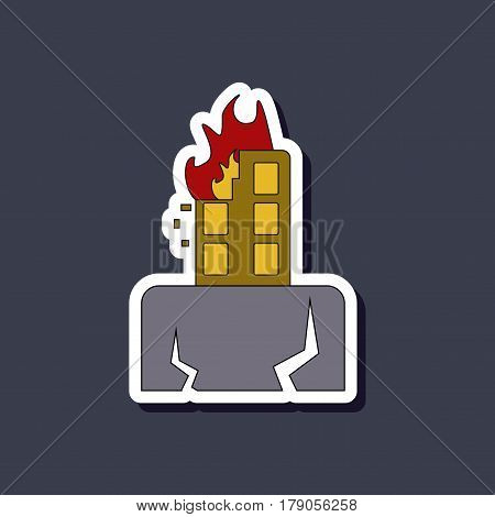 paper sticker on stylish background of natural disaster earthquake house