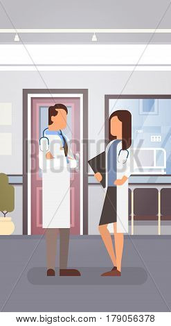 Couple Medial Doctors Team Clinics Hospital Interior Flat Vector Illustration