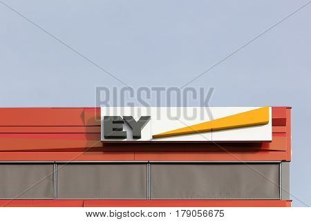 Vejle, Denmark - March 25, 2017: Ernst & Young also called EY is one of the largest professional services firm in the world and is one of the Big Four accounting firms