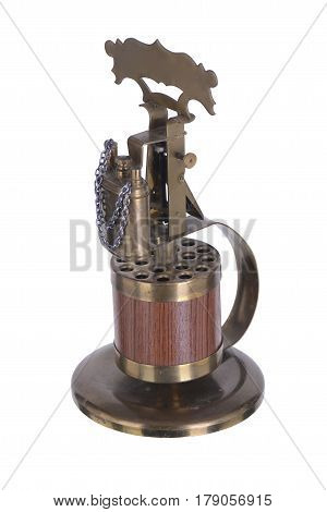 Retro Lighter Gasoline On A Stand With A Keg For Cigarettes And A Handle Vintage Old Thing Lid Wick