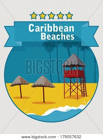 Poster with image of caribbean beach with umbrellas