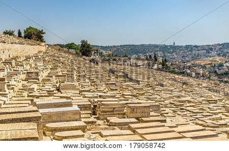 Mount of Olives Jewish Cemetery in Jerusalem, Israel