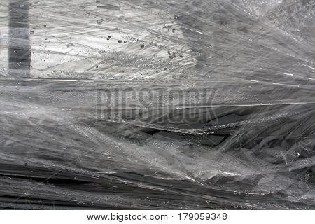 Gray Color Plastic Wrap Surface.