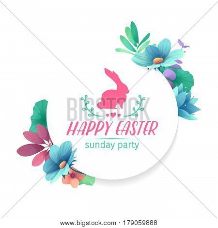 Banner design template with floral decoration for spring Easter. The round frame with the decor of plants, herb, leaves, twigs. Invitation for easter holiday with logo and rabbit, flower element