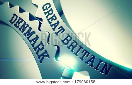 Text Great Britain Denmark on the Shiny Metal Cog Gears - Interaction Concept. Great Britain Denmark Metal Cogwheels - Enterprises Concept. with Glow Effect. 3D .