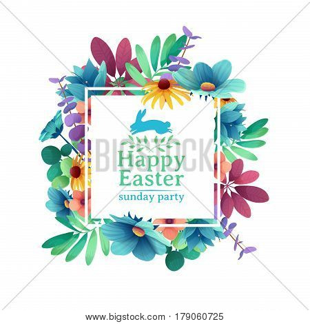 Banner design template with floral decoration for spring Easter. The square frame with the decor of flowers, leaves, twigs. Invitation for easter holiday with logo and rabbit, flower element. Vector