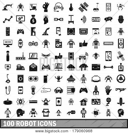 100 robot icons set in simple style for any design vector illustration