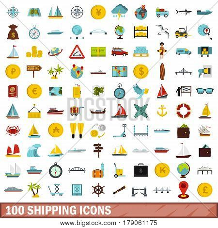 100 shipping icons set in flat style for any design vector illustration