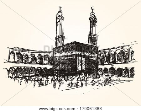 kaaba holy symbolic building in islam vector sketch drawing pilgrimage hajj vector