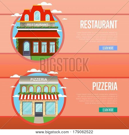 Facade of pizzeria and restaurant banner set vector illustration. Street cafe, bistro, fast food retail concept. Commercial public building in front with signboard and awning on street in flat design