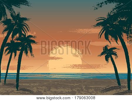 Poster with sand beach, sunset, palms and ocean