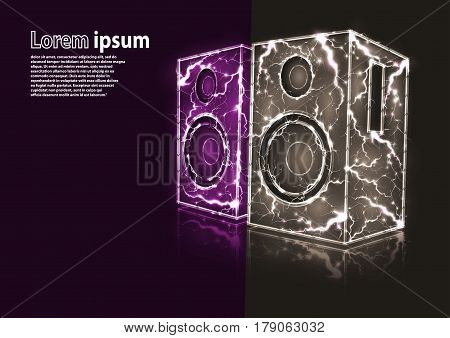 glitter image of violet and grey audio speakers formed by lightnings. Vector illustration
