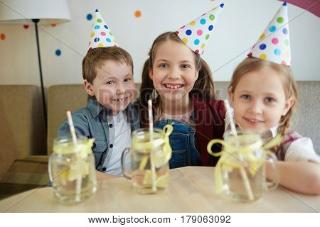 Group of cheerful buddies enjoying party