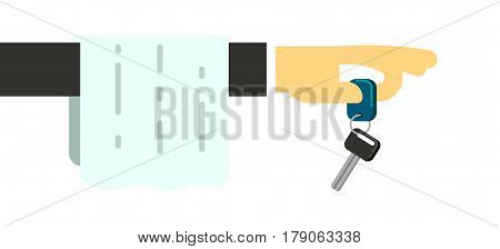 Rent car dealer service conceptual icon isolated on white background vector illustration. Rental business symbol, express auto renting in flat design.