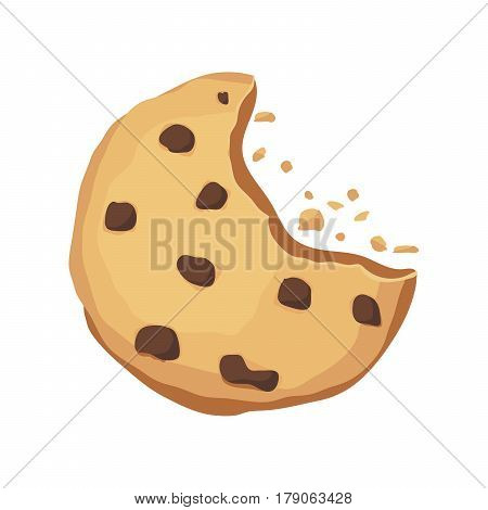 Bitten cookie with chocolate on a white background. The application icon. Cookie crumbs