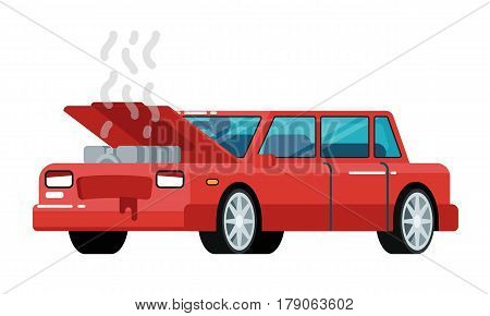 Broken car icon isolated on white background vector illustration. Modern automobile with open hood, car repair, road accident in flat design.