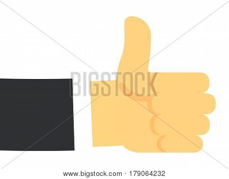 Thumb up hand gesture isolated on white background vector illustration. Human hand emotion sign in flat design.