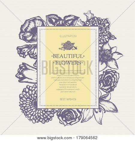 Beautiful Flowers - monochromatic vector hand drawn square banner with copyspace. Realistic rose, lily of the valley, tulip, daisy, iris, lily, chrysanthemum, carnation, poppy, narcissus.