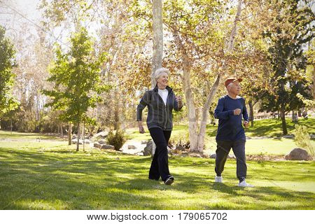 Side View Of Senior Couple Power Walking Through Park