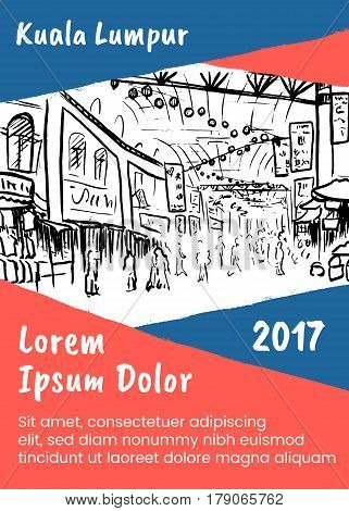 Brochure template with sketch of Chinatown in Kuala Lumpur, Malaysia
