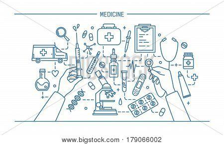 medicine lineart banner, contour vector illustration. web