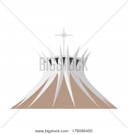 Brasilia Cathedral Brazil. Isolated on white background vector illustration.