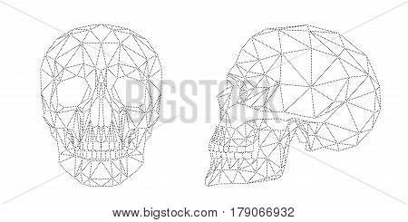 Human skull illustration, modern black dots design isolated on white background, geometric polygonal cranium, vector file