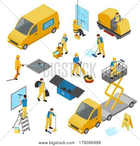 Colored isometric industrial cleaning icon set with people in yellow work uniform vector illustration