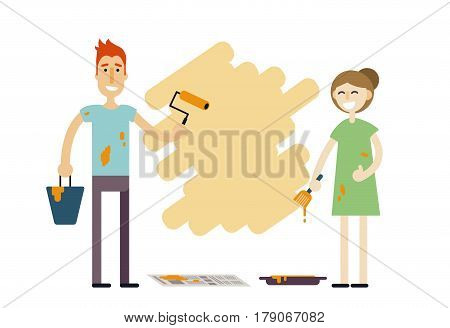 Young happy couple with paint tools doing repair. Man and woman redecorating home. Smiling family doing face-lift in flat or apartment. Boy and girl renovate or decorate place. Home improvement vector illustration.