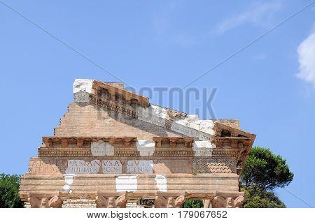 Ruins of the roman temple called Capitolium or Tempio Capitolino in Brescia Italy. Built by Vespasian in the year 73 AD. The written claim authorship of the building: IMP. CAESAR.VESPASIANUS.AUGUSTUS.