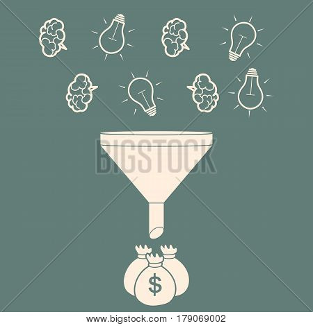 profit concept. brains and light bulb falling into the funnel and turn into profit.