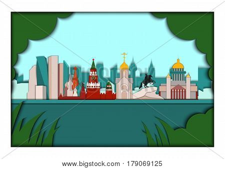 Paper applique style illustration. Card with application of panorama of the largest Russian cities. Moscow, Saint Petersburg and Novosibirsk.Postcard