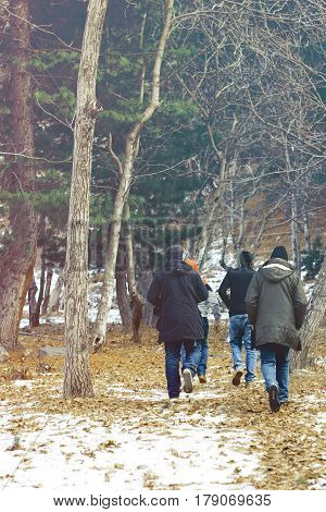 Group of people walking in the woods during fall in Naran Valley KPK Pakistan 27/12/2016
