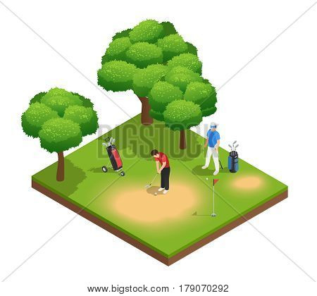 Golf isometric top view composition with two sportsmen playing on golf course bags hole and trees vector illustration