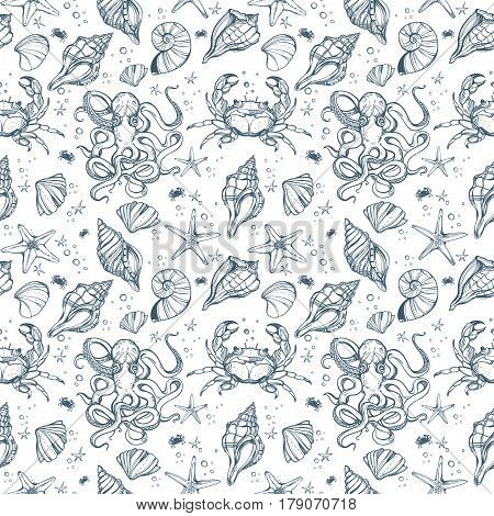 Beautiful hand drawn linear marine life seamless pattern. Shells, octopus, seaweed, crab, starfish. Nautical summer art isolated repetition background. Beach, decorations. Sea for menu, textiles