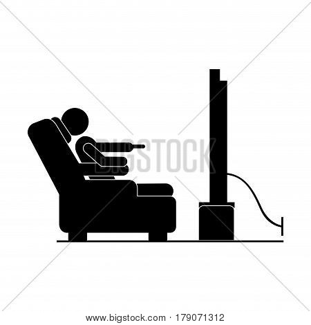 black silhouette pictogram in chair watching tv vector illustration