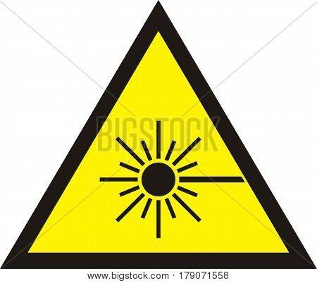 laser radiation flat yellow sign. Warning laser