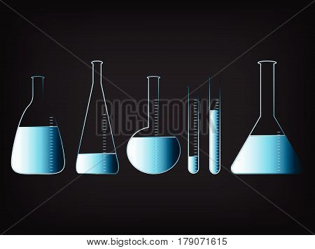science lab bottles in different shapes with liquids vector illustration with glowing neon light streak effect and gradients on mesh background.