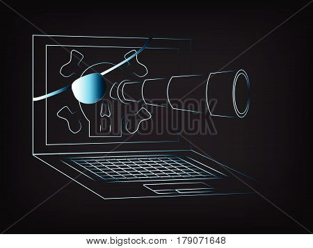 online piracy & cyber crime concept; vector illustration of pirate laptop with monocle and eye patch spying around (ight streak effect on mesh background)