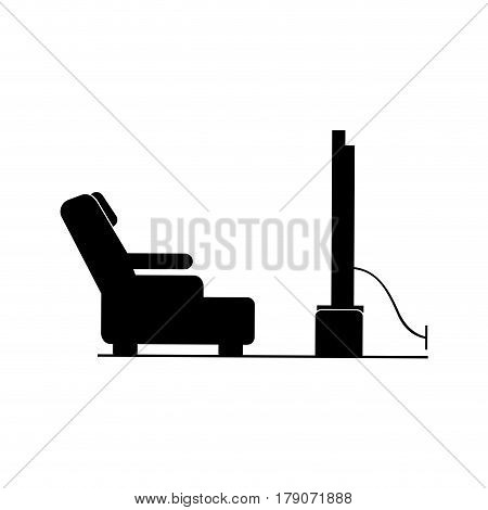 black silhouette televiison room with reclining chair vector illustration