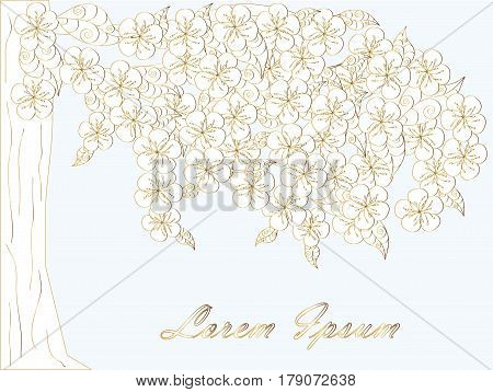 Blooming white tree background, Lorem ipsum stock vector illustration.  Golden outlines on light blue background