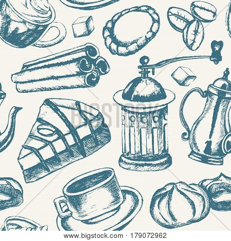 Delicious Coffee - monochromatic vector hand drawn seamless pattern. Realistic marshmallow, cup, cookie, grinder, teapot, cake, sugar, coffee beans, cinnamon.