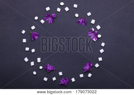 violet spring flowers and tasty marshmallow zephyr on grey background copy space