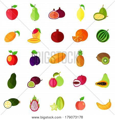 Isolated natural fruits, durian or durio, pitaya or pitahaya, dragon fruit and apple, pear and banana, lemon, peach and apricot, passion fruit and apricot, mango and orange, watermelon and plum, kiwi. Food