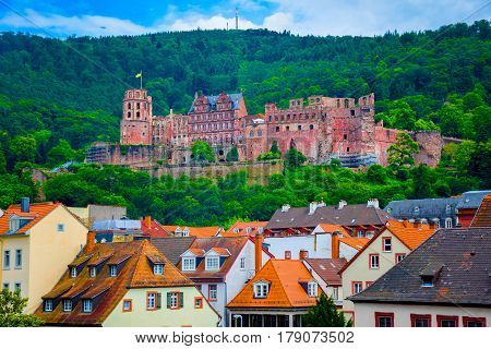 Close up view of Heidelberg castle (Schloss Heidelberg) in Germany