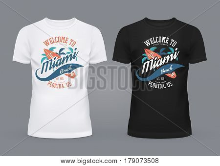 T-shirt in black and white colors with u-neck and print with miami sign made of palms and surfer board, pacific ocean branding. Travel and tourism, american fashion and USA sign, surfer theme